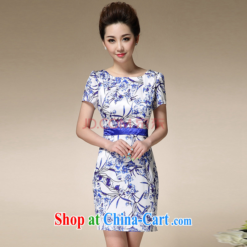 Sweet 1000 to 2015 summer beauty skirt dresses female blue and white porcelain stamp collection waist graphics thin round-collar further than short-sleeved skirt blue 3 XL