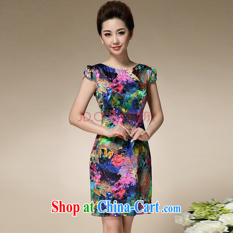 Sweet 1000 to 2015 summer new stamp duty round-collar short-sleeve Sau San emulation Silk Dresses beauty charm antique dresses blue 3 XL
