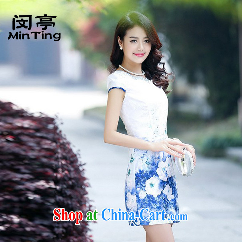 Min-ting 2015 summer new daily improved short-sleeve cheongsam dress female temperament graphics thin package and stamp cheongsam dress blue 2 XL