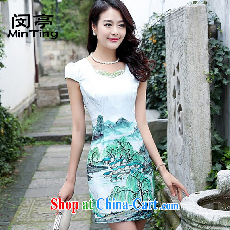 Min-ting 2015 new summer wear cheongsam dress daily green and white porcelain improved stylish short stamp Beauty Fashion dresses green willows 2XL