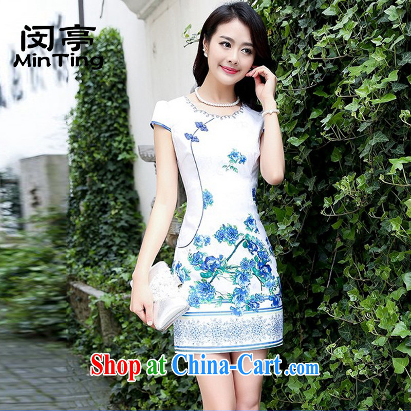 Min booth 2015 new embroidery stamp blue and white porcelain cheongsam dress girls summer improved daily short skirt video thin further skirt blue rose M
