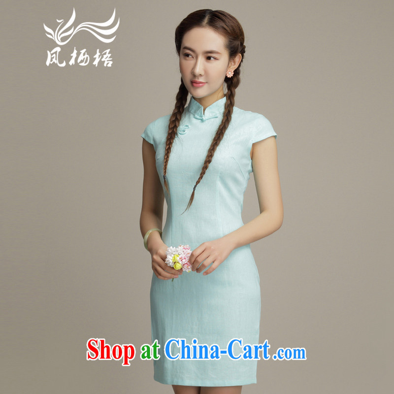 Bong-amphibious NTHU summer 2015 new units the retro dresses small fresh literary style beauty short sleeve cheongsam dress DQ 15,105 blue XXL