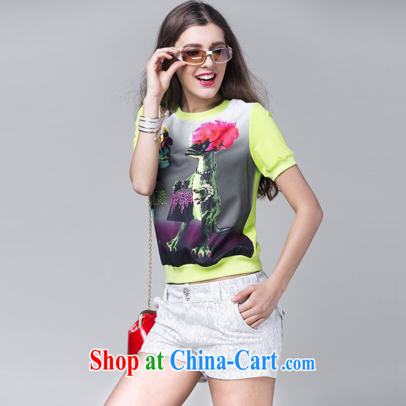 Ya-ting store summer 2015 New Female European sites in Europe and go show the stamp T-shirt with short sleeves shirt T female green L