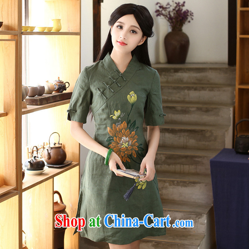China classic 2015 new summer dresses, dresses daily retro improved arts van hand-painted cotton Ma green XXL