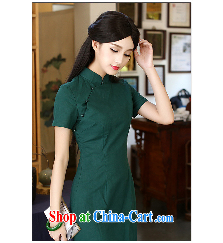 China classic Solid Color cotton Ms. Yau Ma Tei daily improved cheongsam dress Chinese Antique summer literary aura van red M pictures, price, brand platters! Elections are good character, the national distribution, so why buy now enjoy more preferential! Health