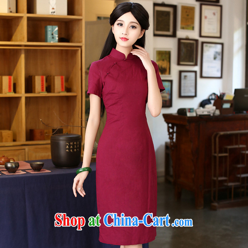 China classic Solid Color cotton Ms. Yau Ma Tei daily improved cheongsam dress Chinese Antique summer literary aura van red M