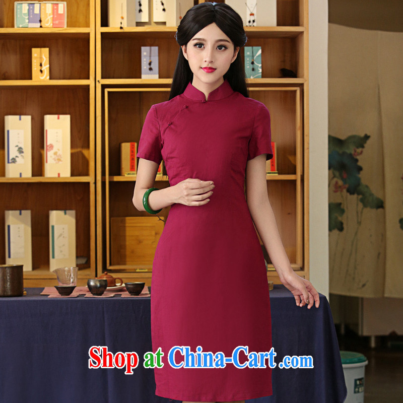 China classic Solid Color cotton Ms. Yau Ma Tei daily improved cheongsam dress Chinese Antique summer literary aura van red M, China Classic (HUAZUJINGDIAN), and shopping on the Internet
