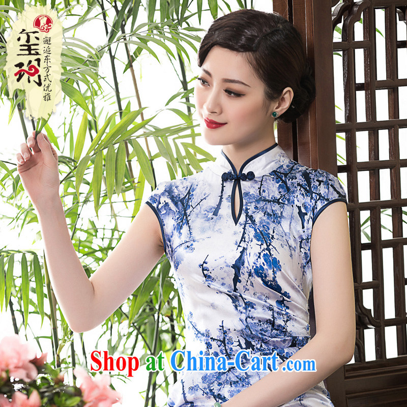 Yin Yue seal 2015 spring and summer New Beauty short stylish dresses skirt high-end heavy silk, dresses picture color XL
