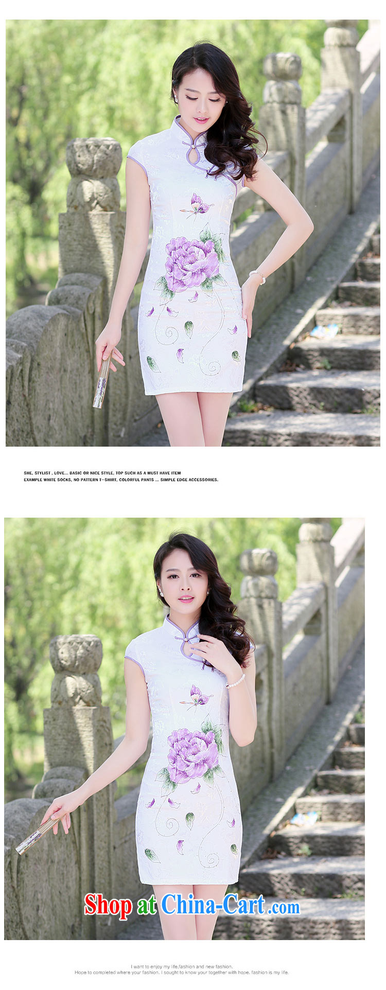 His angel, summer 2015, for the withholding of sexy beauty graphics thin improved cheongsam dress stylish ethnic Wind Flower stamp pack and blue lotus XXL pictures, price, brand platters! Elections are good character, the national distribution, so why buy now enjoy more preferential! Health