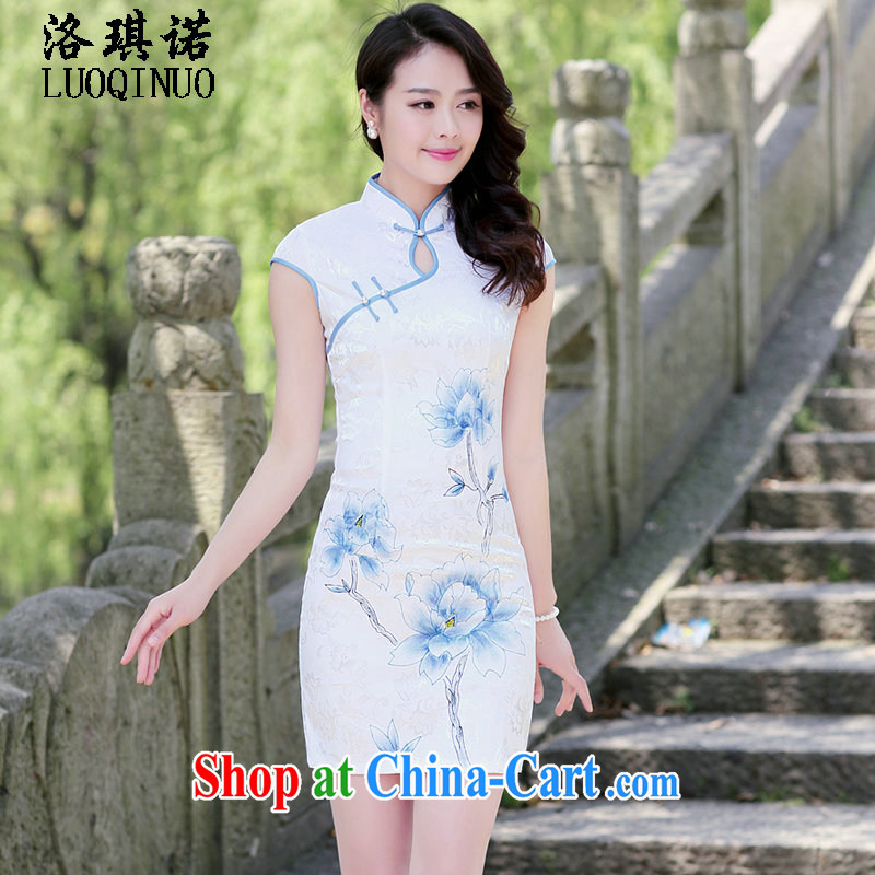 His angel, summer 2015, for the withholding of sexy beauty graphics thin improved cheongsam dress stylish ethnic Wind Flower stamp pack and blue lotus XXL