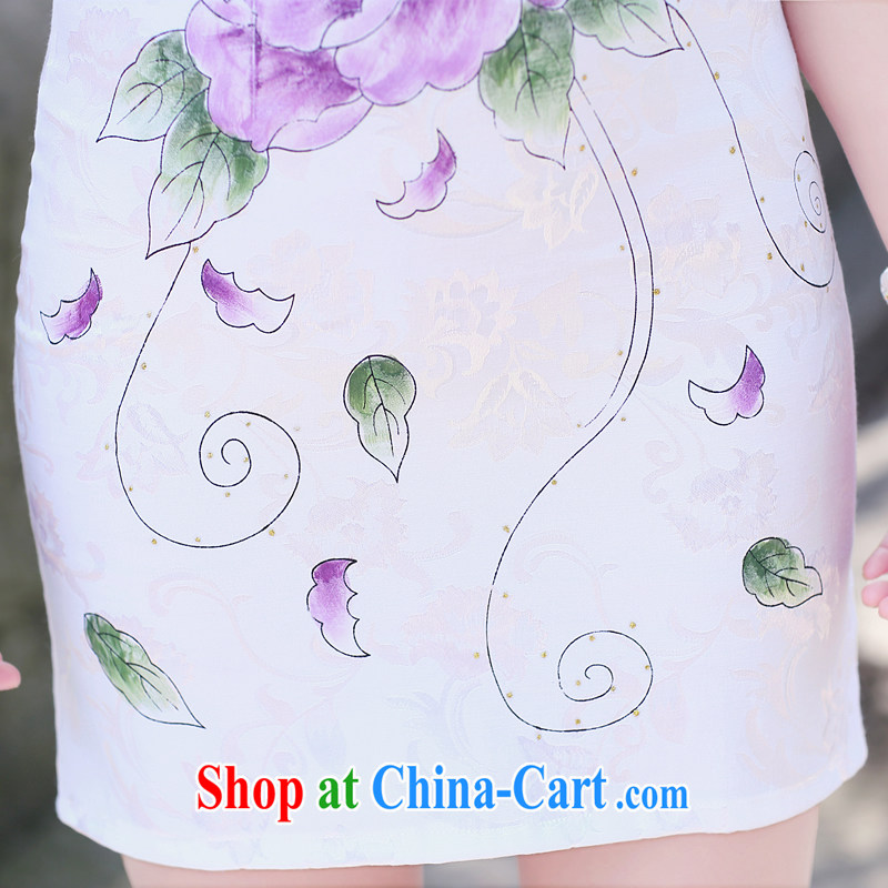 His angel, summer 2015, for the withholding of sexy beauty graphics thin improved cheongsam dress stylish ethnic Wind Flower stamp pack and blue lotus XXL, Angel (LUOQINUO), shopping on the Internet