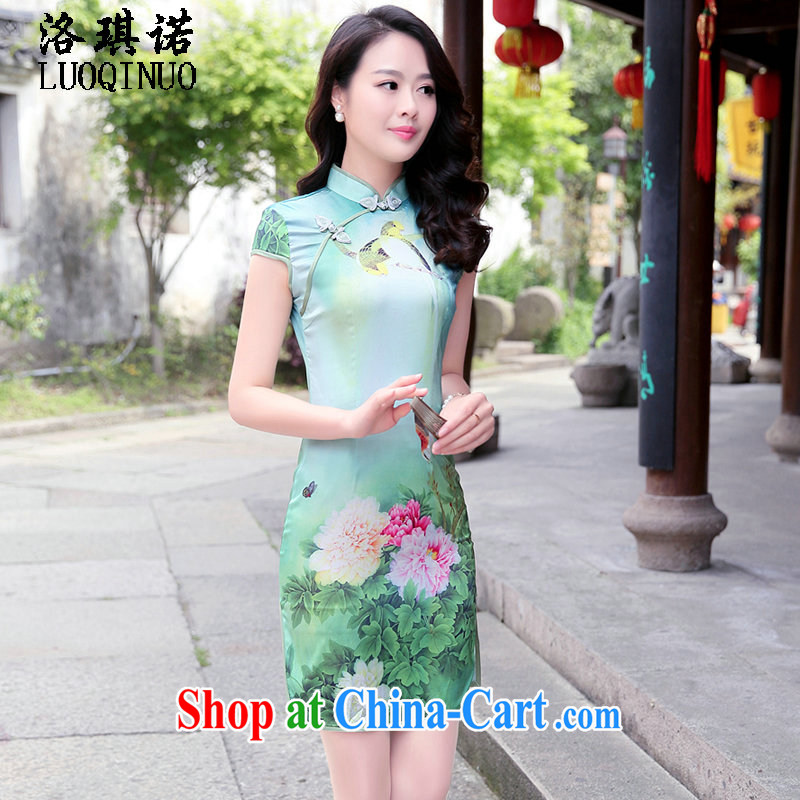 His angel, summer 2015 new stylish stamp retro improved cheongsam dress-fasteners on ends the forklift truck sense of further skirt peony flowers M