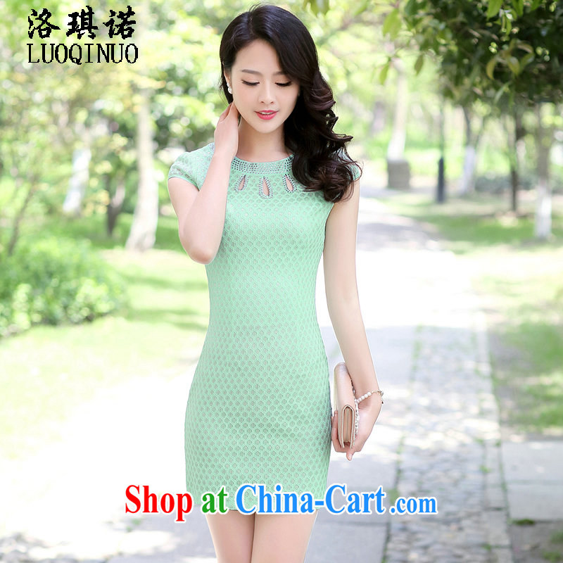 His angel, summer 2015 new lady wood drill round-collar dresses beauty graphics thin solid color, long package and short-sleeved further skirt Green Green XXL