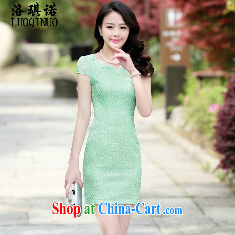 His angel, summer 2015 aura cheongsam dress improved spring dresses lace solid short-sleeved package and a high turnover rate as fruit green XXL