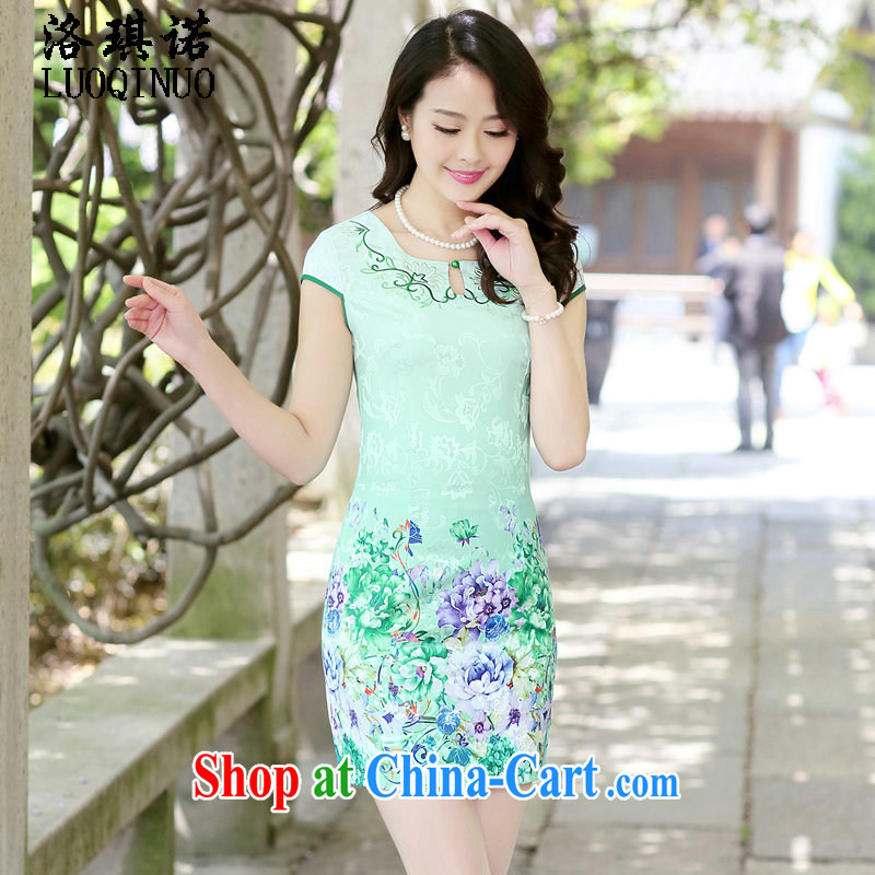 His angel, 2015 new dresses summer daily sexy neckline graphics thin improved stylish retro flower stamp cheongsam dress green the Peony XXL