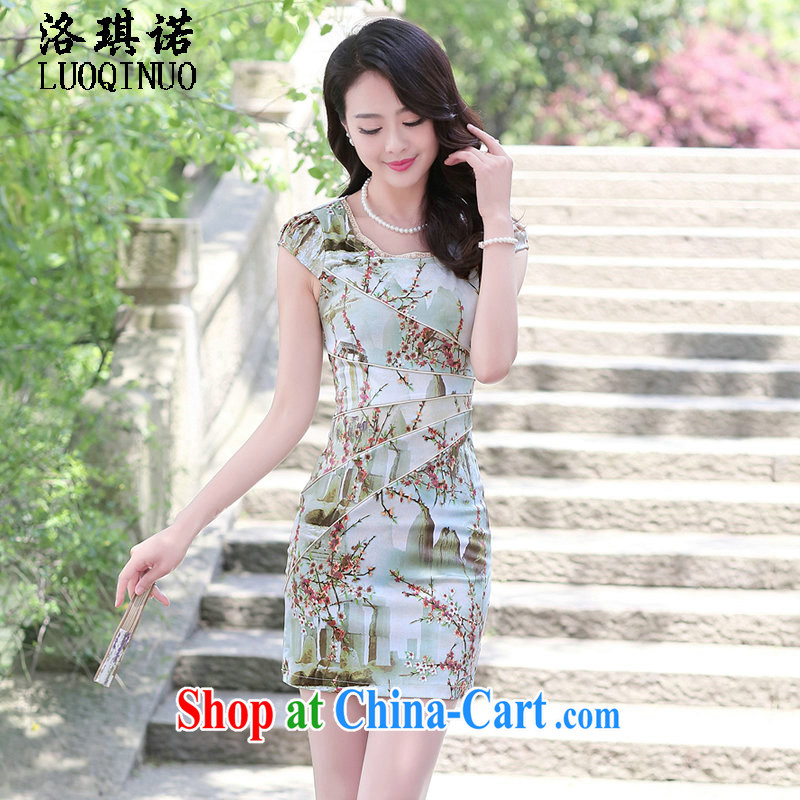 His angel, summer 2015 new women improved version cheongsam dress short-sleeved cultivating flower stamp special stitching effects graphics thin package and skirt XXL landscape