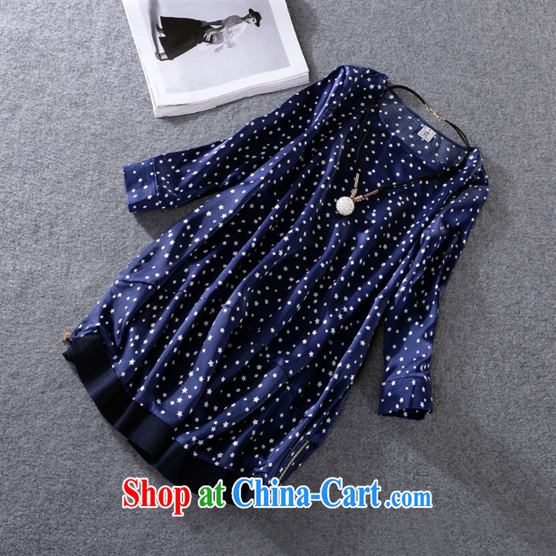 Ya-ting store summer 2015 new European site female round collar 7 in Europe and cuff Stars stamp female, long T shirt T-shirt dark blue XXXL