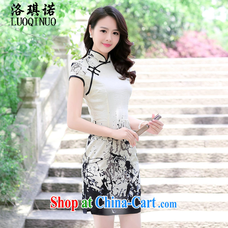 His angel, summer 2015 New Products retro stamp duty improved cheongsam-snap the flap style short-sleeved ethnic wind black-and-white further skirt painting XXL