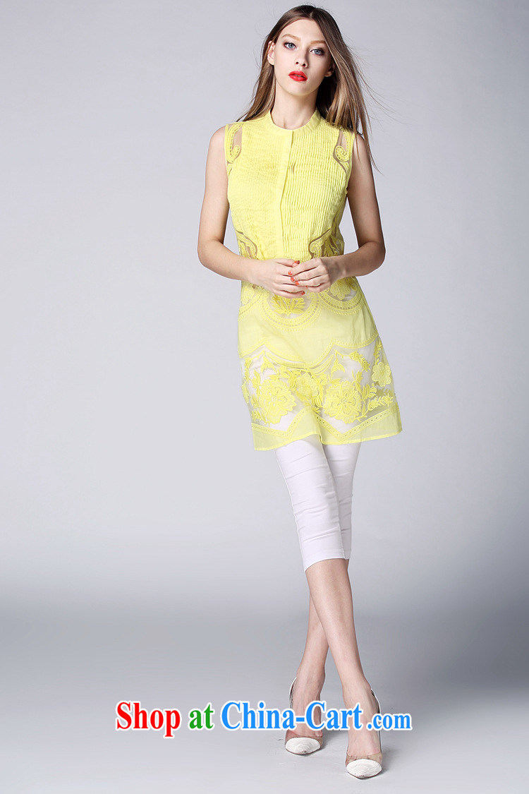 Ya-ting store summer 2015 new European and American female round-collar sleeveless European site stylish pressure hem embroidered fluoro long T-shirt white XL pictures, price, brand platters! Elections are good character, the national distribution, so why buy now enjoy more preferential! Health