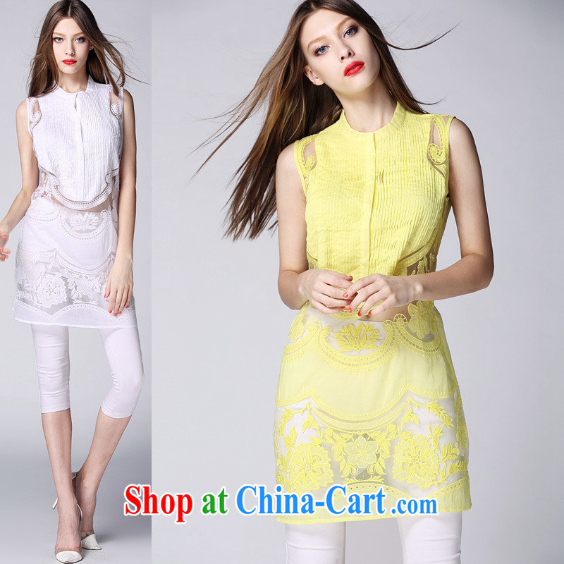 Ya-ting store summer 2015 new European and American female round-collar sleeveless European site stylish pressure hem embroidered fluoro long T-shirt white XL