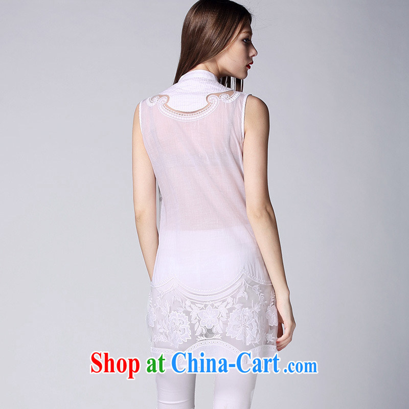 Ya-ting store summer 2015 new European and American female round-collar sleeveless European site stylish pressure hem embroidered fluoro long T-shirt white XL, blue rain bow, and shopping on the Internet