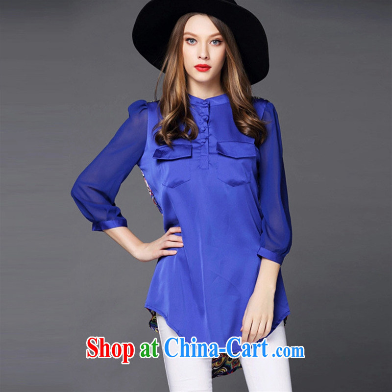 Ya-ting store summer 2015 new European site female round collar 7 cuff hit back-stamp duty has been the European and American long T-shirt blue XXXL