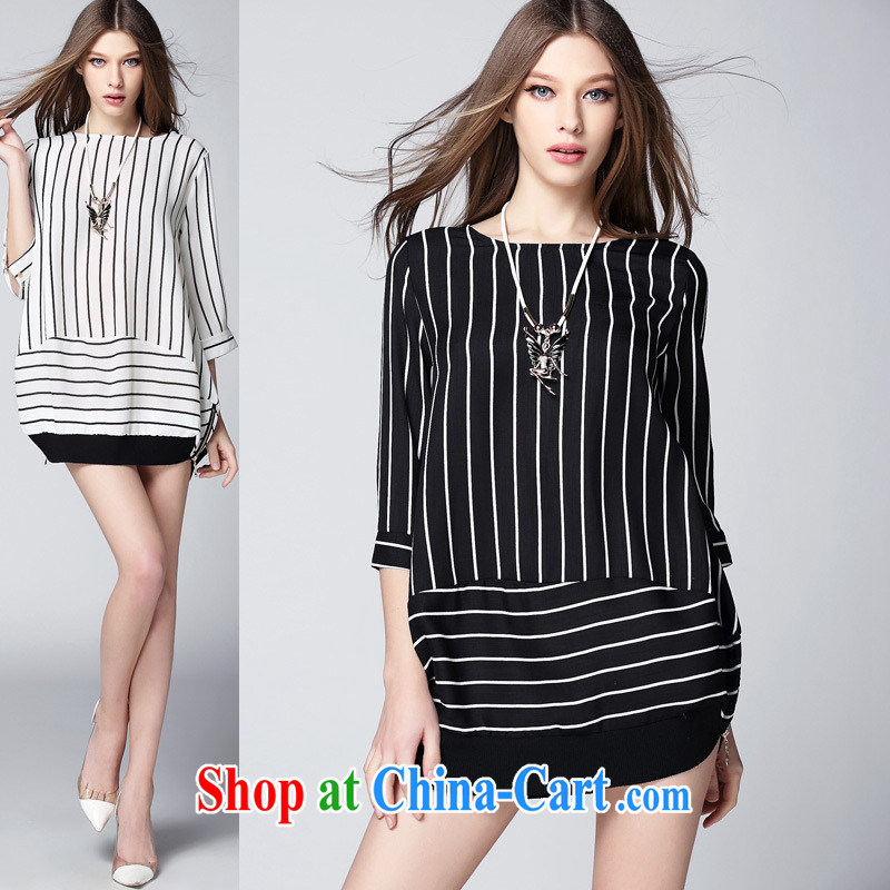 Ya-ting store summer 2015 new European site female field for 7 cuff stripes in Europe and America, with zipper, long T-shirt black L