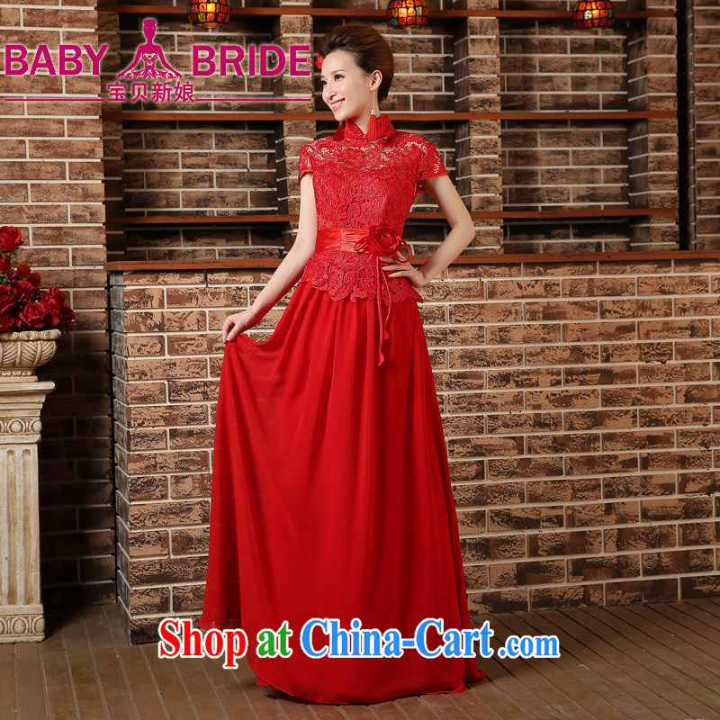 2015 New Red bride's toast serving short-sleeved short-sleeved and stylish Long, Sau San wedding cheongsam dress spring and summer red M