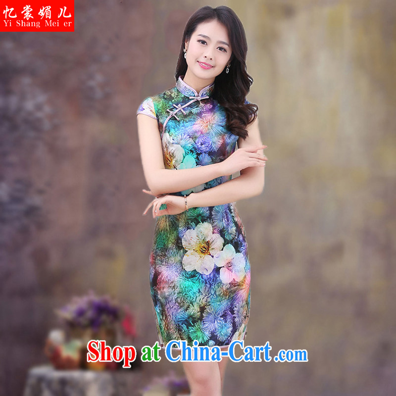 Recall that advisory committee that child care 2015 new summer Ethnic Wind Chinese stamp retro beauty style graphics thin short-sleeved cultivating improved cheongsam dress Peacock green floral 2 XL