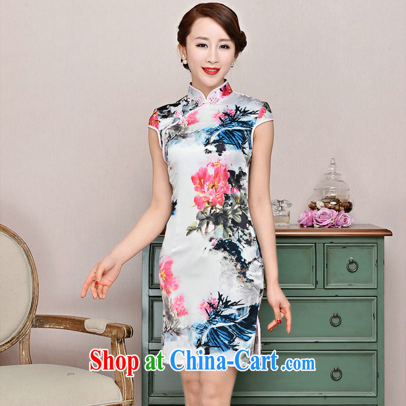 Summer 2015 the new ultra-baik CB in 1587 long, the collar jacquard silk and cotton Korean Beauty thin, qipao package mail Peony floral XXL