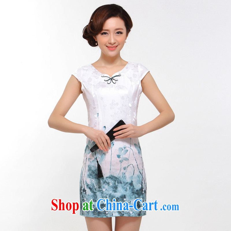 2015 new summer improved fashion cheongsam sexy beauty retro Stylish Girl cheongsam dress white XL