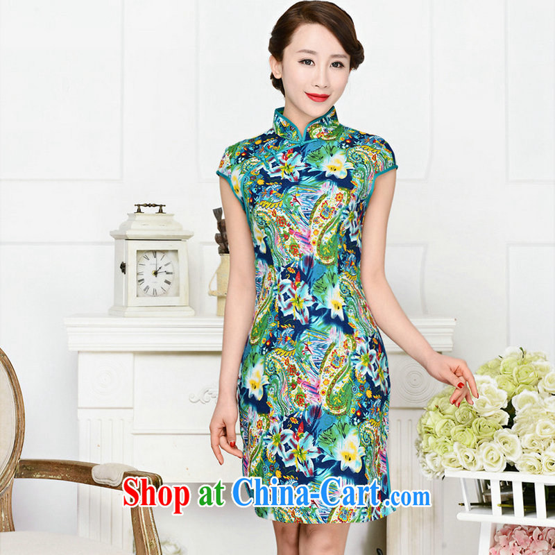 2015 summer new ultra-baik CB 1586 jacquard cotton blended the Commission in paragraph long, for Korean Beauty dresses green package for green floral XXL
