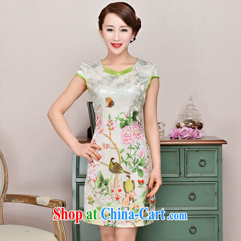 2015 summer edition Korea beauty thin ultra-baik CB 1585 jacquard silk and cotton, long boutique cheongsam pink Peony flowers XXL