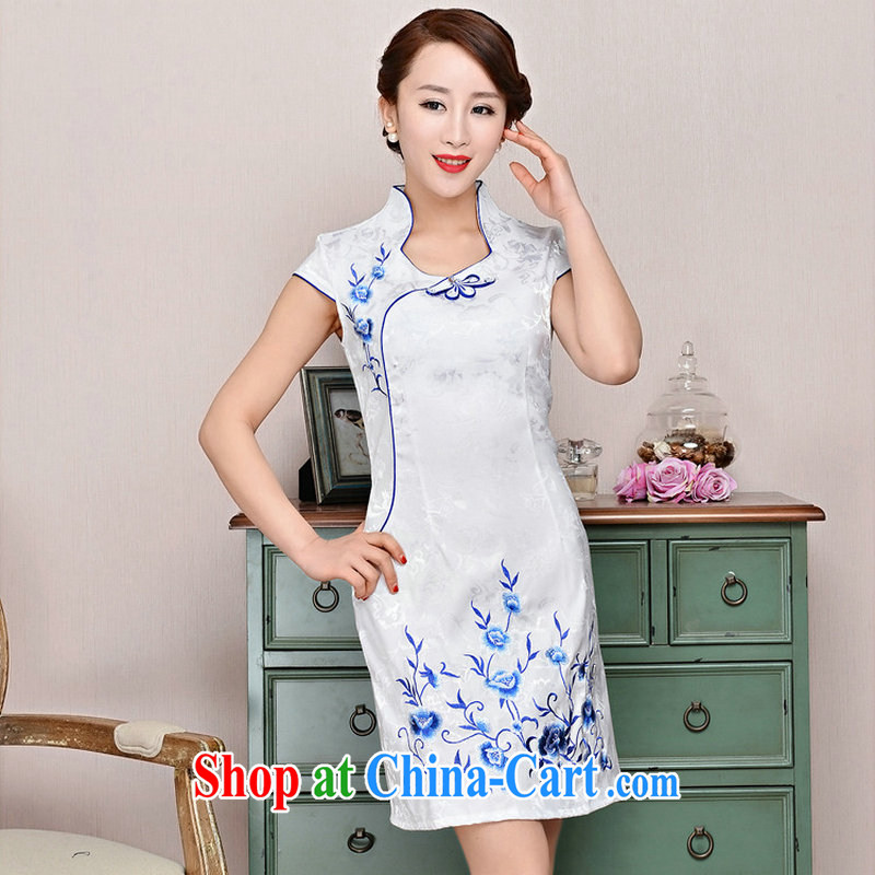 2015 summer new ultra-baik CB in 1583 long jacquard silk and cotton robes Sau San thin version for the payment package mail Blue on white small flowers XXL