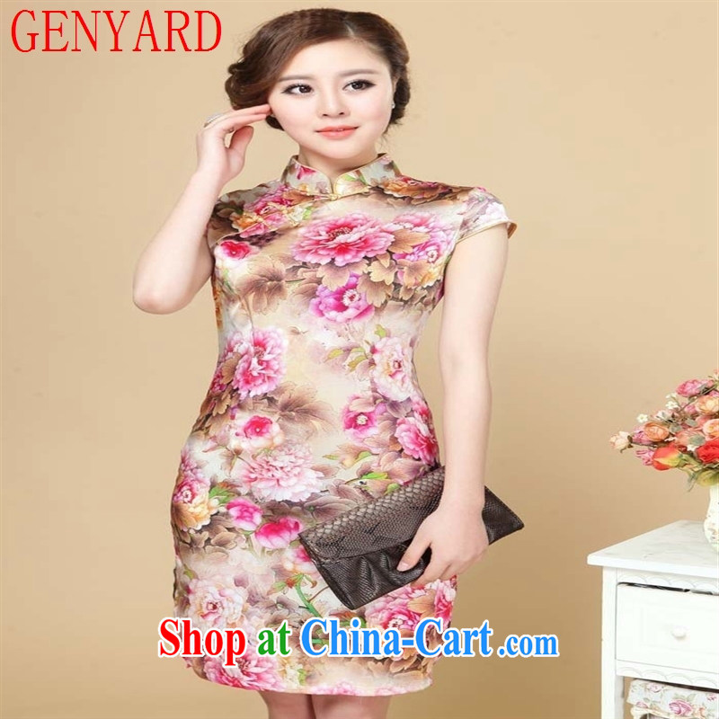 Deloitte Touche Tohmatsu sunny store new female summer registration poster stretch Satin cheongsam sauna silk cheongsam 8152 01 XXL