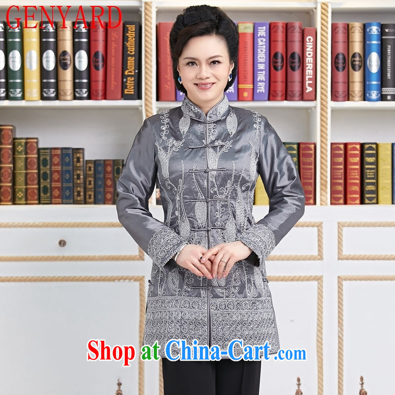 Deloitte Touche Tohmatsu store sunny spring and fall new, for embroidered Chinese Chinese wind yi tang with Chinese-tie shirt, long women jacket gray XXXL