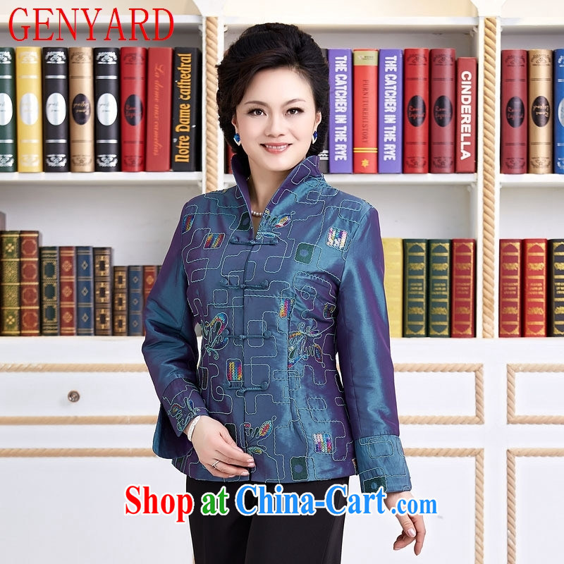 Qin Qing store new spring loaded female Chinese National wind long-sleeved embroidered Chinese style Chinese restaurant, Ms. T-shirt blue XXXL