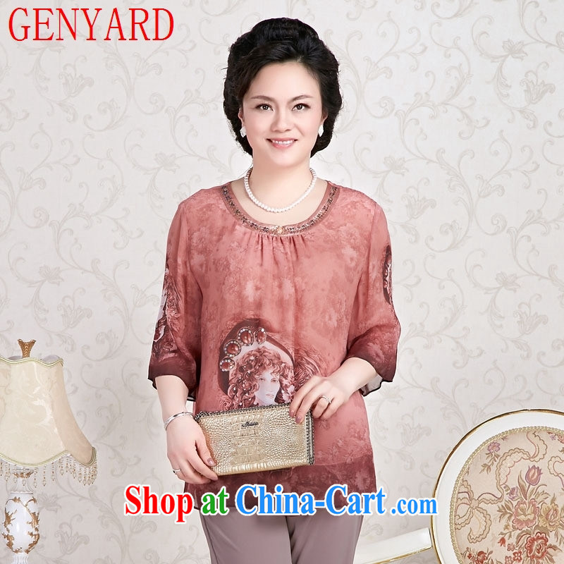 Qin Qing store sauna silk hand-painted T-shirt, older women summer mother load long-sleeved T-shirt short-sleeved red XXXL