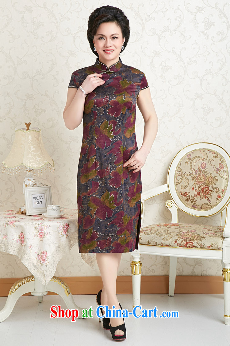 Peregrine fine antique store female Ethnic Wind sauna silk dresses with silk silk damask incense cloud yarn cheongsam blue Phnom Penh XXXL pictures, price, brand platters! Elections are good character, the national distribution, so why buy now enjoy more preferential! Health