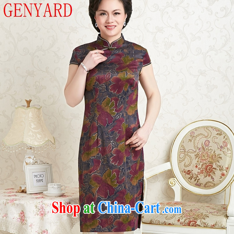 Peregrine fine antique store female Ethnic Wind sauna silk dresses with silk silk damask incense cloud yarn cheongsam blue Phnom Penh XXXL