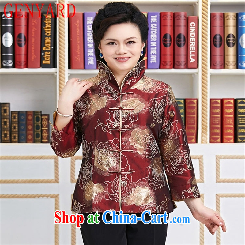 Qin Qing store 2015 spring and summer New Tang women T-shirt embroidered Chinese jacket the waist graphics thin air to the charge-back the collar brown XXXL