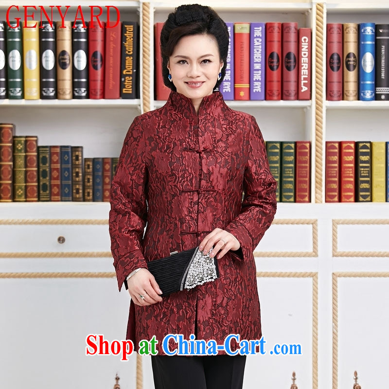 Peregrine fine antique stores Ethnic Wind Chinese improved the code-tie up for the T-shirt the cotton warm, long, women's coats T-shirt red XXXL