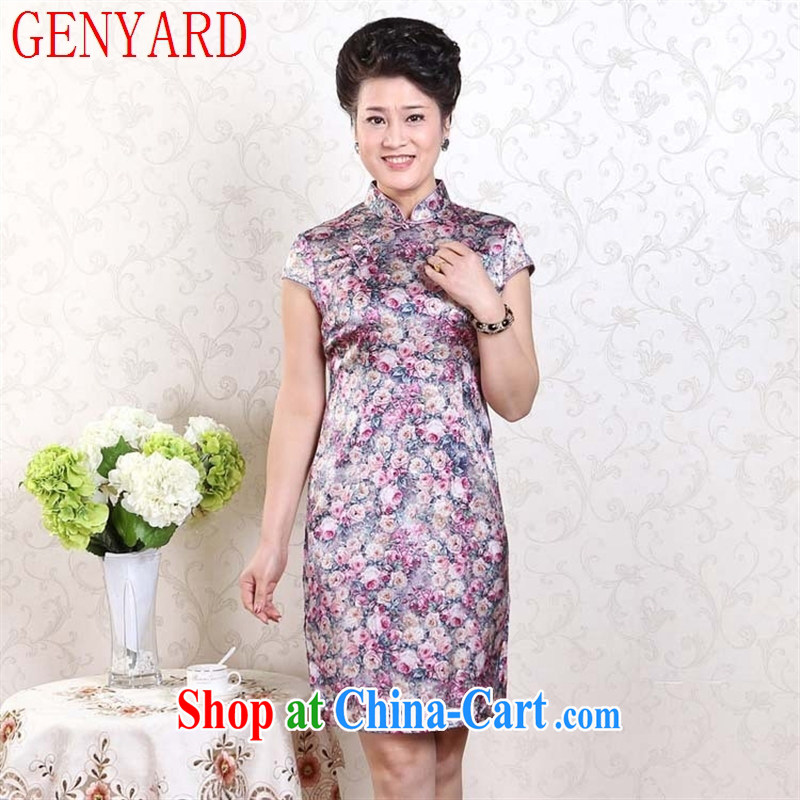 Qin Qing store elegant Ethnic Wind silk painting flowers sauna Silk Cheongsam dress stretch Satin dresses, such as the real-time concept XXXL