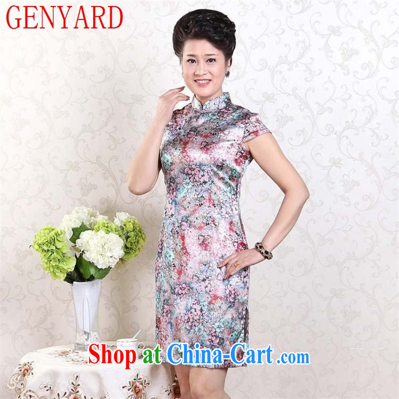 Qin Qing store original heavy sauna Silk Cheongsam hot summer, stretch the improved cheongsam elegant graphics thin fancy XXXL