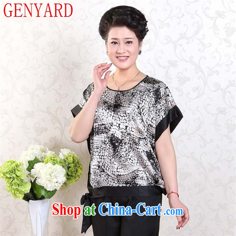 Qin Qing store middle-aged and older women with her mother summer T-shirt middle-aged ladies T shirts bat T-shirt black and white XXL
