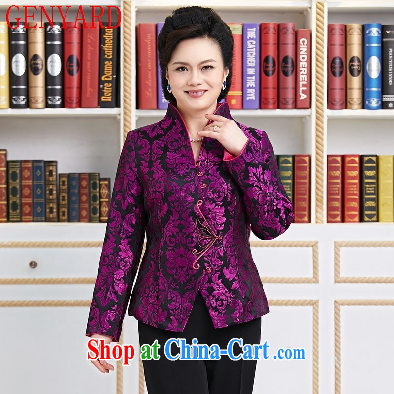 Qin Qing store Ms. replacing long-sleeved T-shirt, older style decorated mother in spring jacket T-shirt Purple Purple XXXL