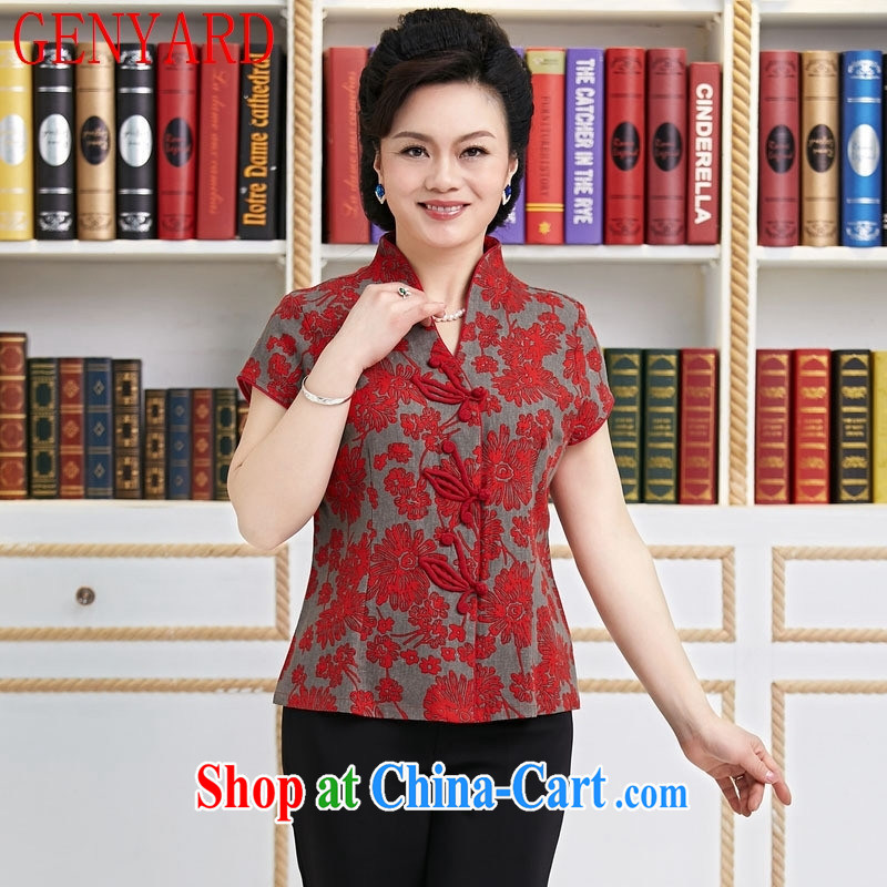Deloitte Touche Tohmatsu store sunny summer short-sleeved Chinese female T-shirt retro improved, short-sleeved ethnic wind Chinese T-shirt with short sleeves shirt saffron XXXL