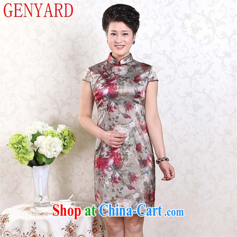 Qin Qing SHOP NEW summer short improved fashion cheongsam dress stretch Satin cheongsam saffron XXXL