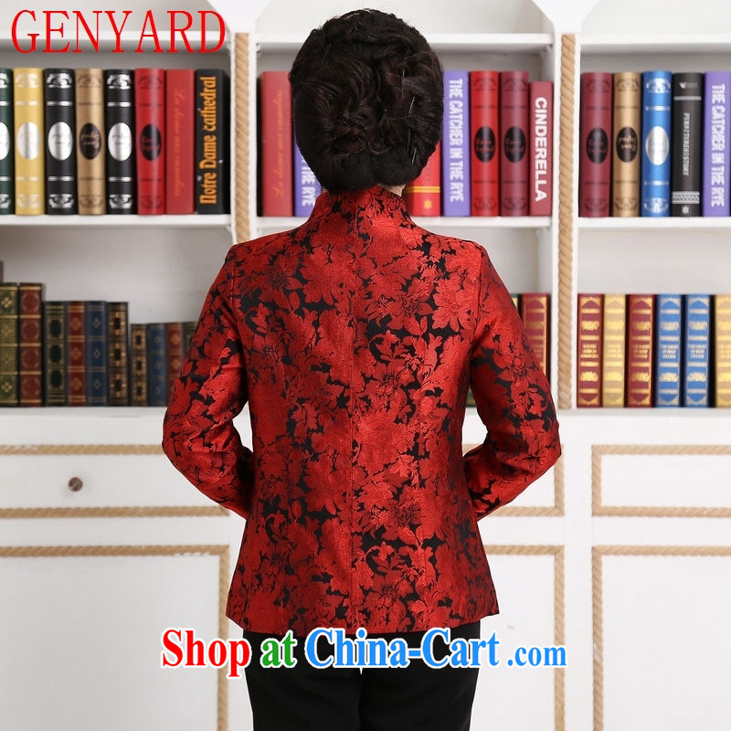 Qin Qing store embroidered short, long-sleeved T-shirt Chinese girl fall and winter for the Tang jackets T-shirt the T-shirt purple XXXL, GENYARD, shopping on the Internet