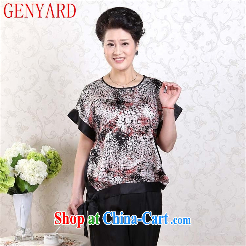 Qin Qing store older bat T-shirt large, loose woman sauna silk shirt shirt MOM red XXL